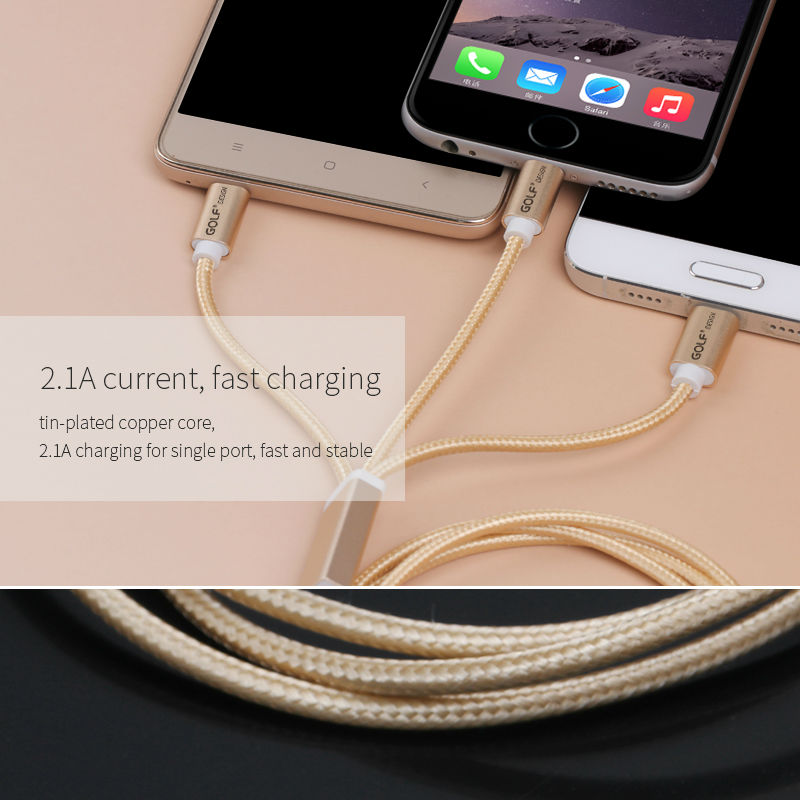 Golf 3 in 1 Braided Quick Charge Sync-Cable 05