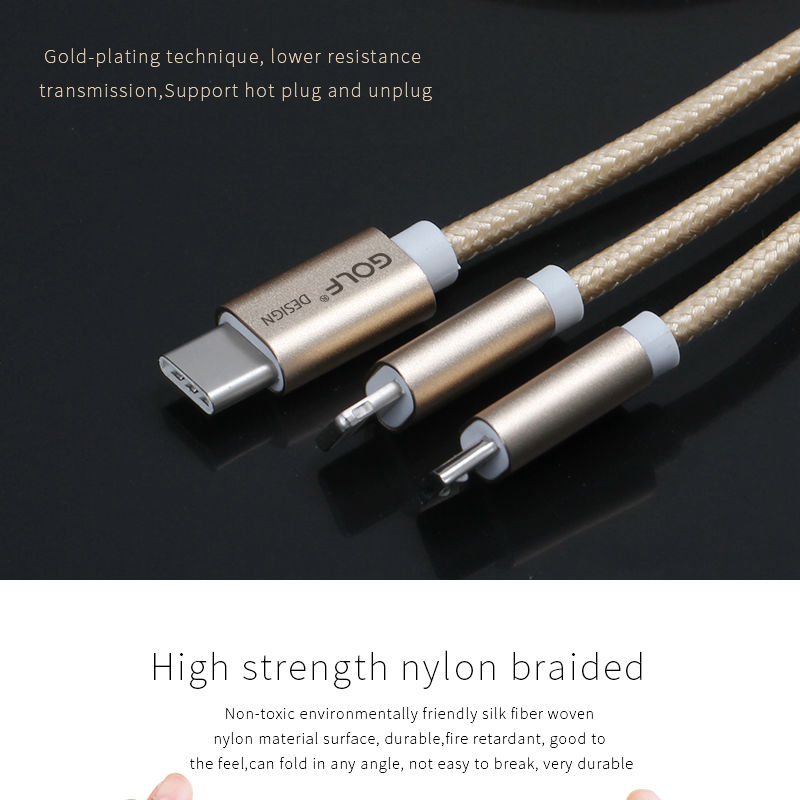 Golf 3 in 1 Braided Quick Charge Sync-Cable 06