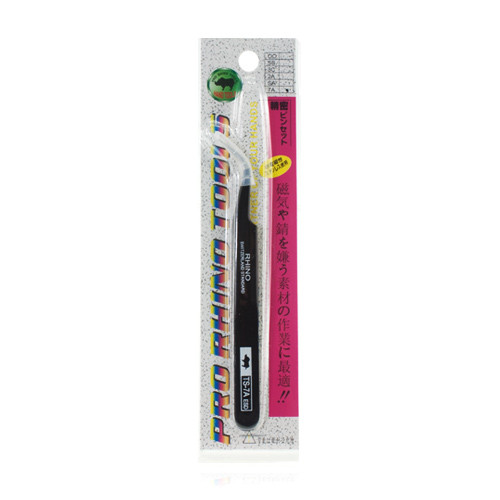 Pro Rhino ESD Safe Stainless Steel Tweezers Fine Tip Curved ESD-15 Black