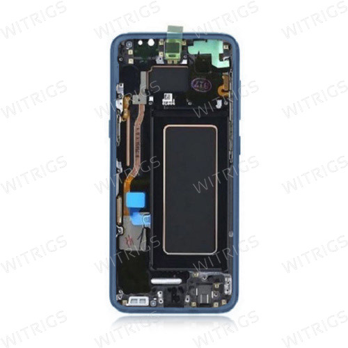 Custom Screen Replacement with Frame for Samsung Galaxy S8 Coral Blue