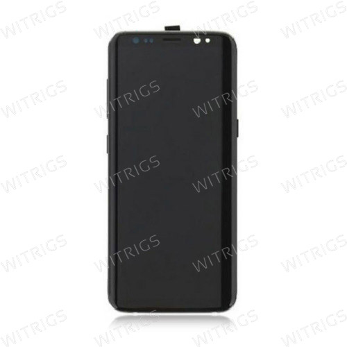 Custom Screen Replacement with Frame for Samsung Galaxy S8 Midnight Black