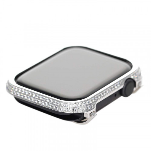 Custom Luxury Crystal Protective Case for Apple watch Series 5 & 4 44mm Silver