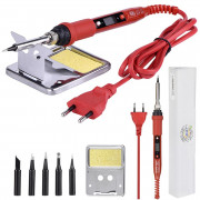 JCD Soldering Iron Kit Adjustable Temperature 80W 908S (Red-EU 220V)
