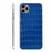 Custom Rear Housing for iPhone 11 Pro Max Alligator Leather Sea Blue