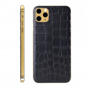 Leather Version Custom Rear Housing for iPhone 11 Pro Max Alligator Leather Black