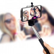 Cable Take Pole Selfie Stick for IOS & Android Black