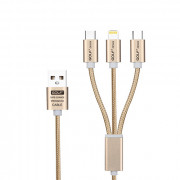 Golf 3 in 1 Braided Quick Charge Sync-Cable Gold