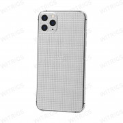 Custom Luxury Full Diamonds Back Housing for iPhone 11 Pro Max Platinum Silver